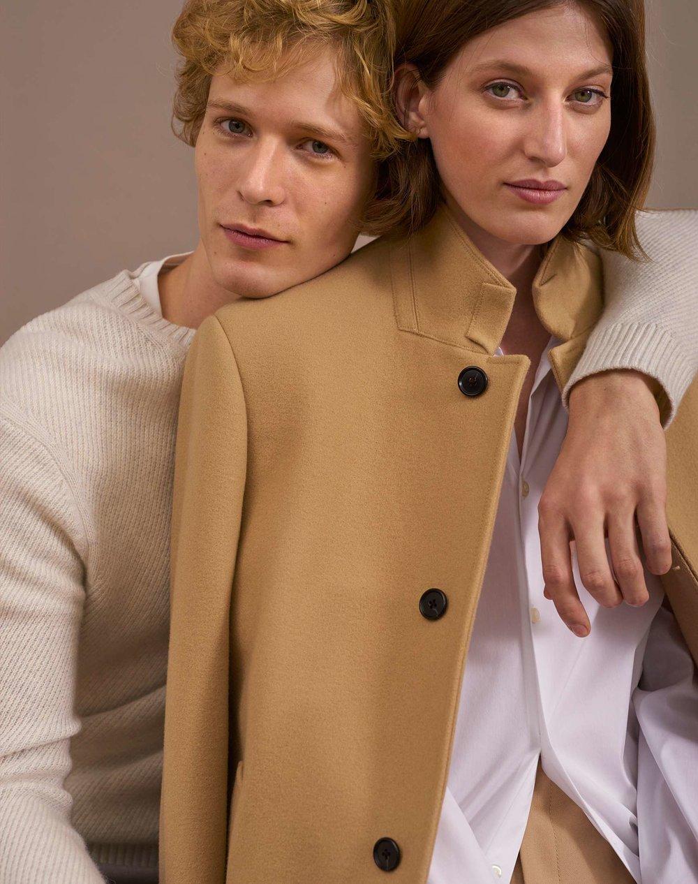 Cashmere Twill Crew, Oxford Solid Shirt, Loukas Funnel-Neck Coat, Izabelah Pant