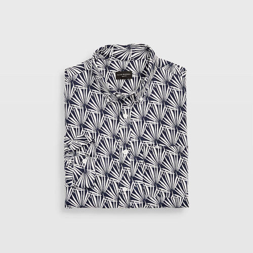 Slim Geo Palm Linen Shirt   HK$1,190