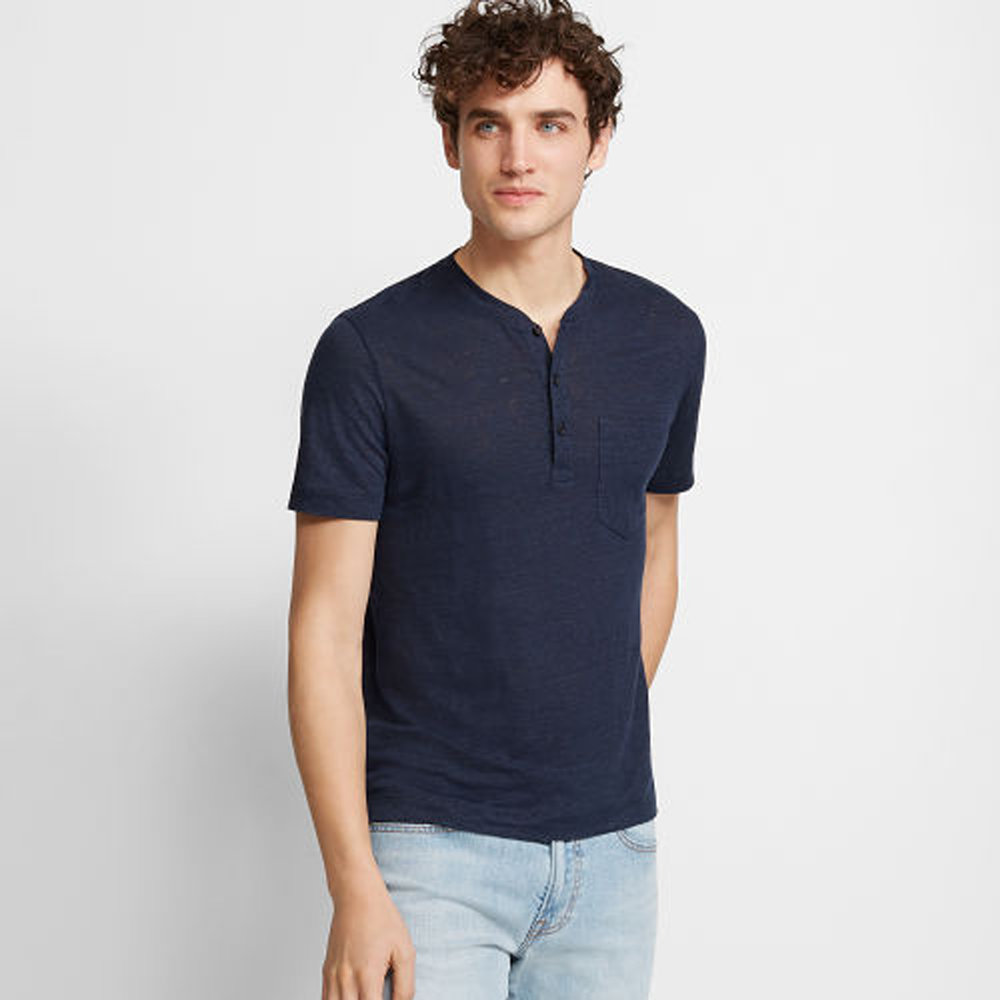 Short-Sleeve Linen Henley   HK$990