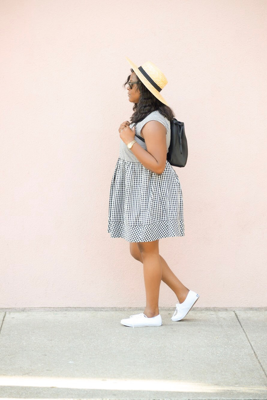 Madewell  Dress  (recently sold out), Keds  Sneakers , Ray Ban  Wayfarer  Sunnies, TopShop  Backpack