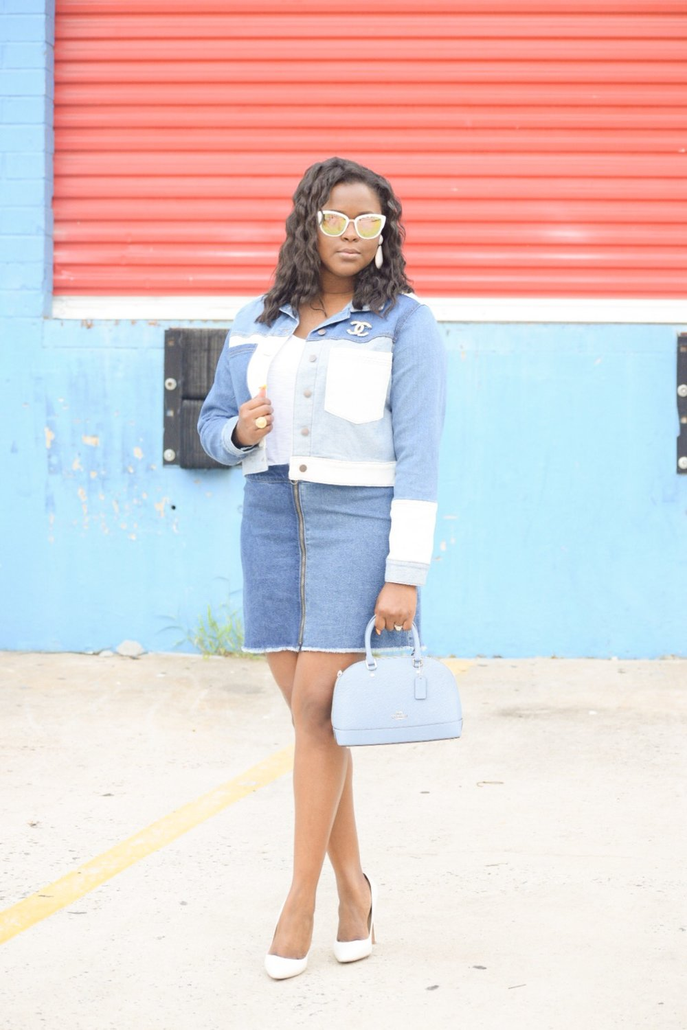 Wild Fable  Jacket  &  Skirt , Aldo Pumps (similar  here ), Coach Outlet Sierra  Satchel , Nordstrom Sunnies, Zara Earrings (sold out), Chanel  Ring  & Brooch (old)