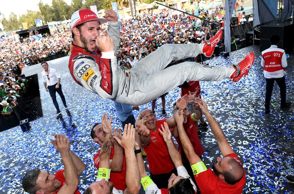 Daniel Abt (Audi Sport Abt Shaeffler) celebrates after securing his maiden victory in the 2018 Mexico City E-Prix