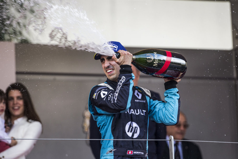 Sebastien Buemi (former Renault - e.dams driver), celebrates after winning the 2017 Monaco E-Prix