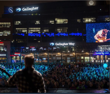Venue naming rights partnership between Gallagher and the Chicago Cubs/Hickory Street Capital