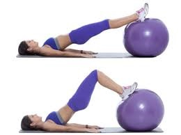 Stability Ball Bridge    hy : Strengthens the gluteus maximus and multifidus (small muscles in the back for spinal stability)   How:  Lie on the ground with your feet on a stability ball, arms extended out or by your side. Lift your hips up off the floor so your body is in a straight line from knees to shoulders and hold. Try to hold for 60sec without the hips dropping. As you get stronger you can move the ball out toward the calves, then the heels for more of a challenge. Also, progress your arms from outstretched 90 degrees to your body to parallel beside your body, then lift them up 90 degrees straight into the air. There are many more exercises to consider, but these are 3 to start with.