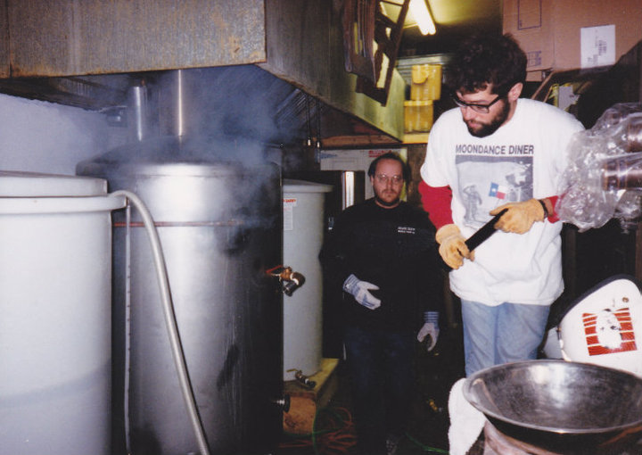 Eric Roach and Daron White brewing an early batch on the new system, circa 1997