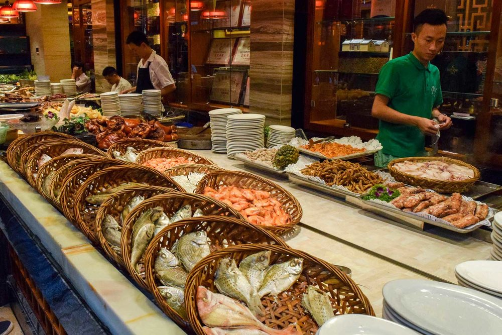 Fresh seafood on display at Swatow restaurant. Diners order their meals by selecting raw items and specifying cooking method