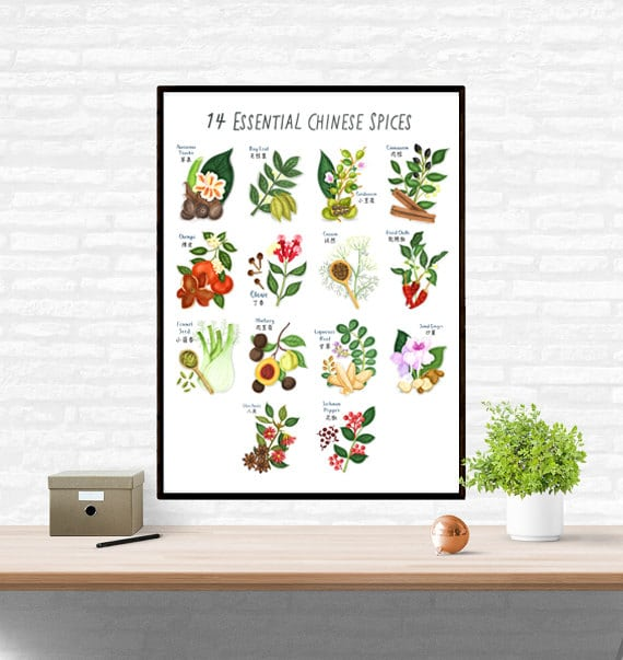 Chinese Spices Wall Art - This botanical spice index by London-based illustrator and former chef Liv Wan depicts 14 adorably plump Chinese seasonings – fronds, buds, berries and all.