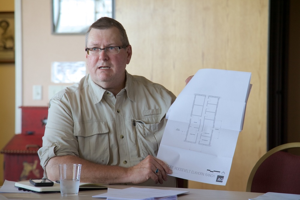 Scott Jordan-Denny of JLG discusses the architectural drawings for the Elkhorn Ranch cabin.