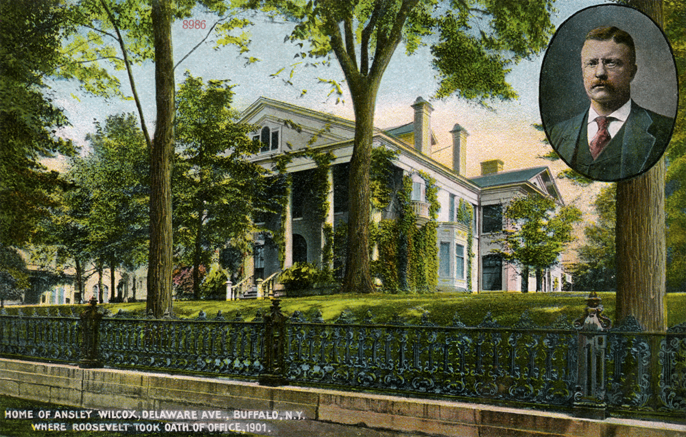 Postcard of Ansley Wilcox House where Theodore Roosevelt was inaugurated. Courtesy of Theodore Roosevelt Inaugural National Historic Site.