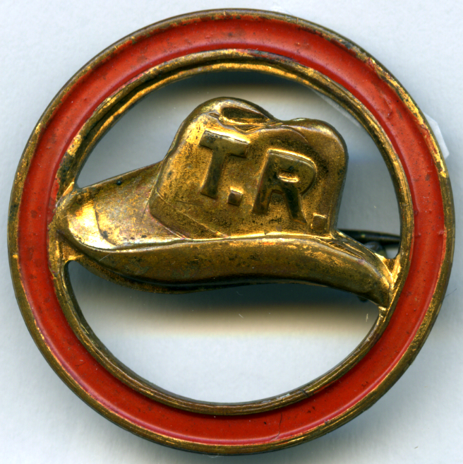 """My hat is in the ring"" pin, 1912. Courtesy of Theodore Roosevelt Inaugural National Historic Site."