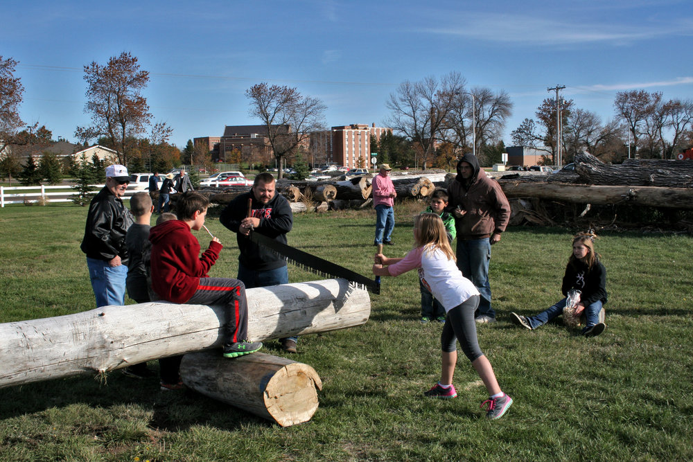 Spectators had a chance to cut their own souvenir slice of a cottonwood log using a crosscut saw.