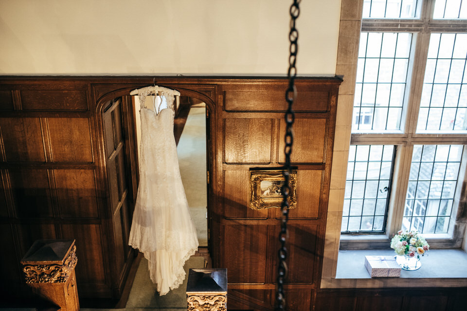 Hanging wedding dress Rowallan Castle