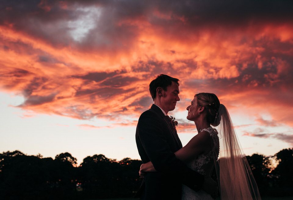 Red sky wedding portrait