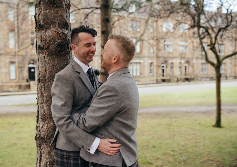 Gay wedding Glasgow University portraits