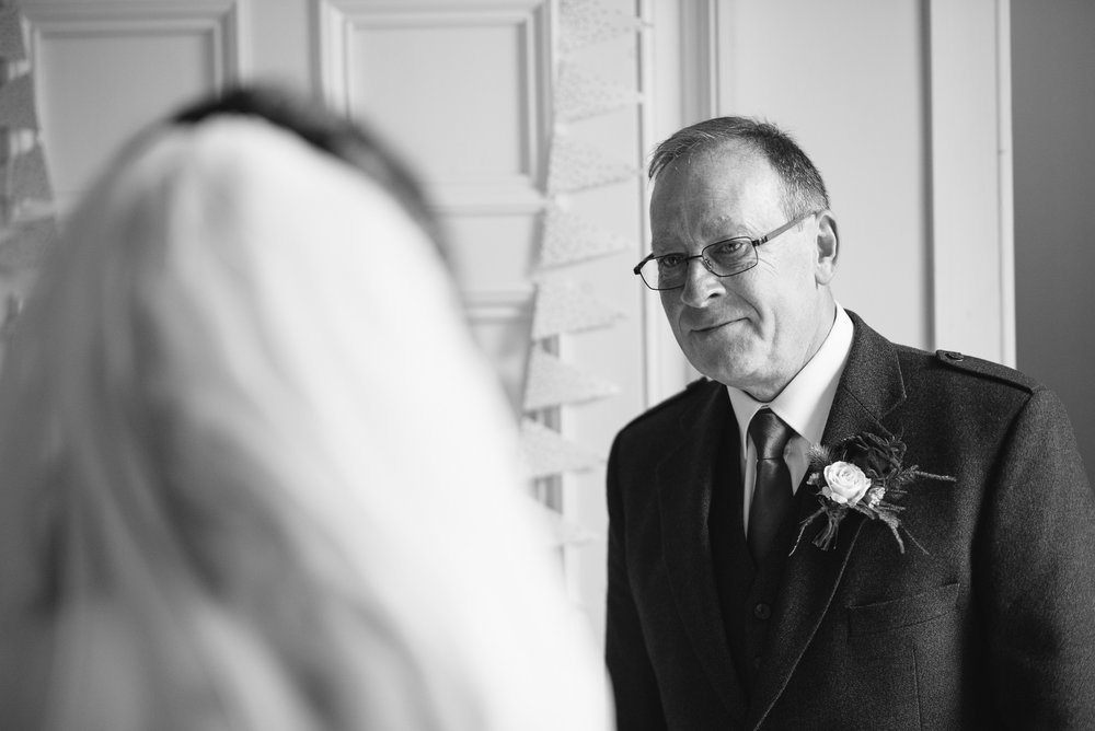 Bride seeing dad
