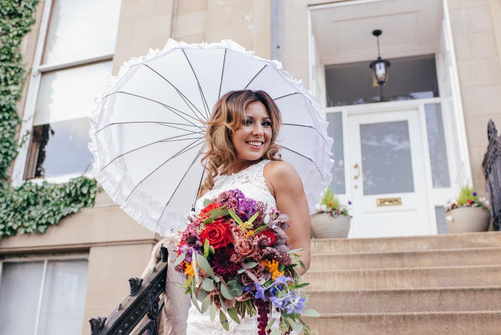 White wedding parasol