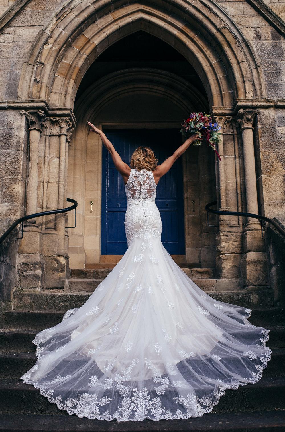Bride on stairs Glasgow