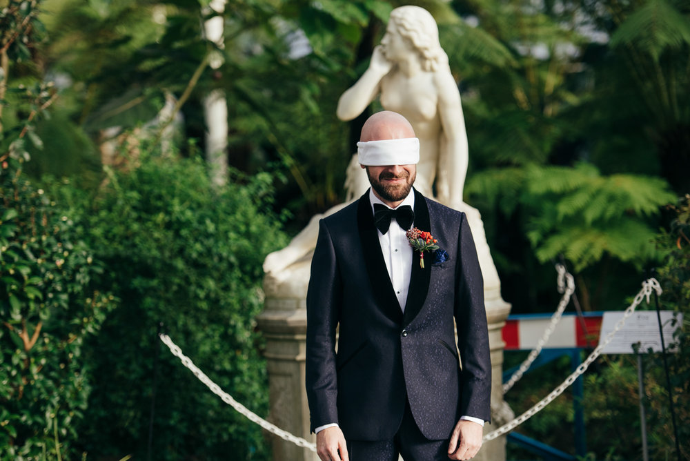 Jewish first look blindfold