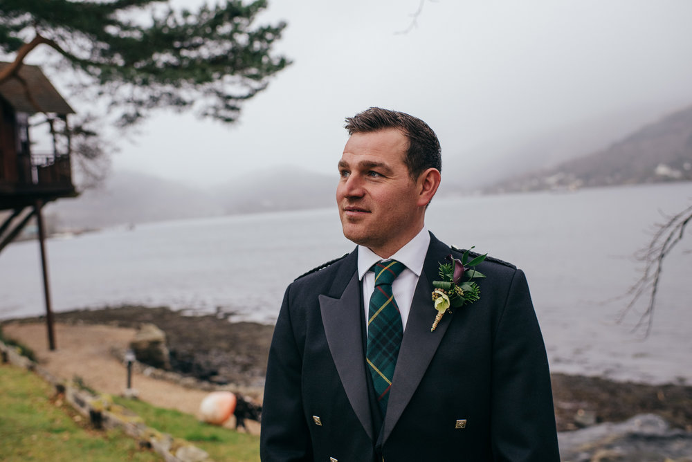 Groom wedding portrait Scotland