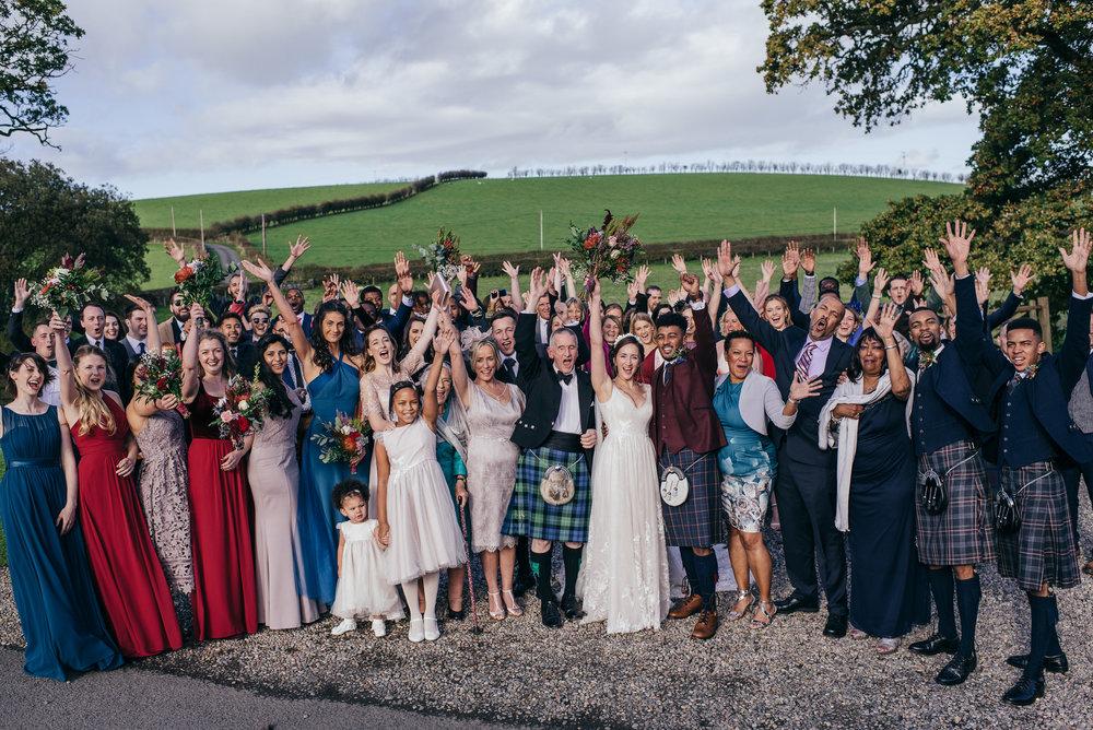Group shot wedding at Dalduff