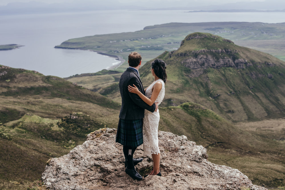 Isle of Skye Elopement on mountain top