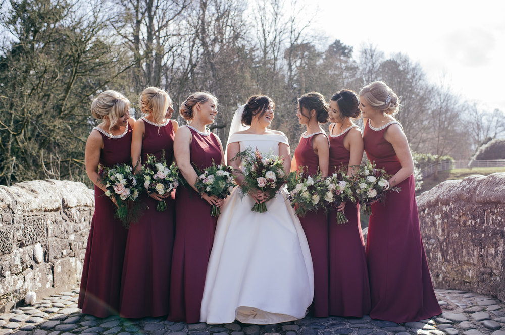 Bridal party wedding portrait Scotland