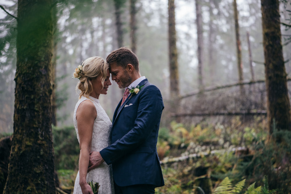 Woodland portrait Scottish elopement