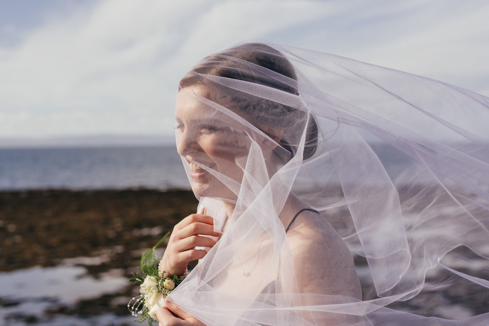 Wedding veil caught by bridesmaids face