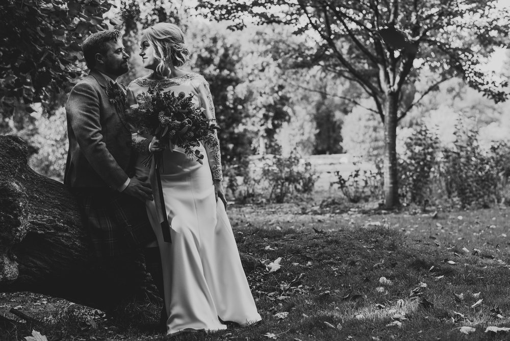 Autumnal wedding portrait in maxwell park