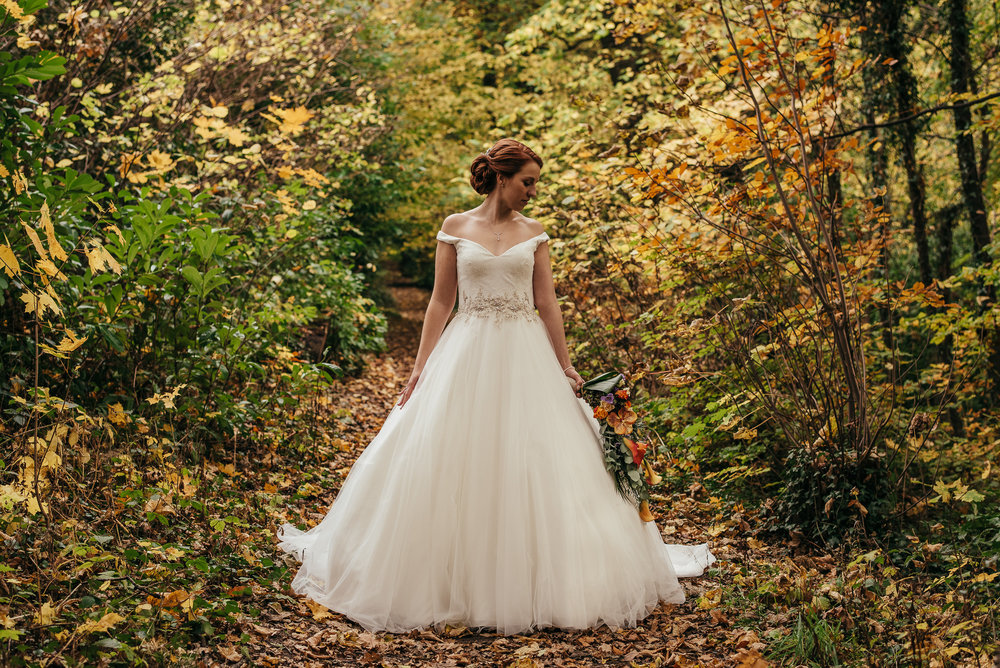 Autumnal colours wedding portrait