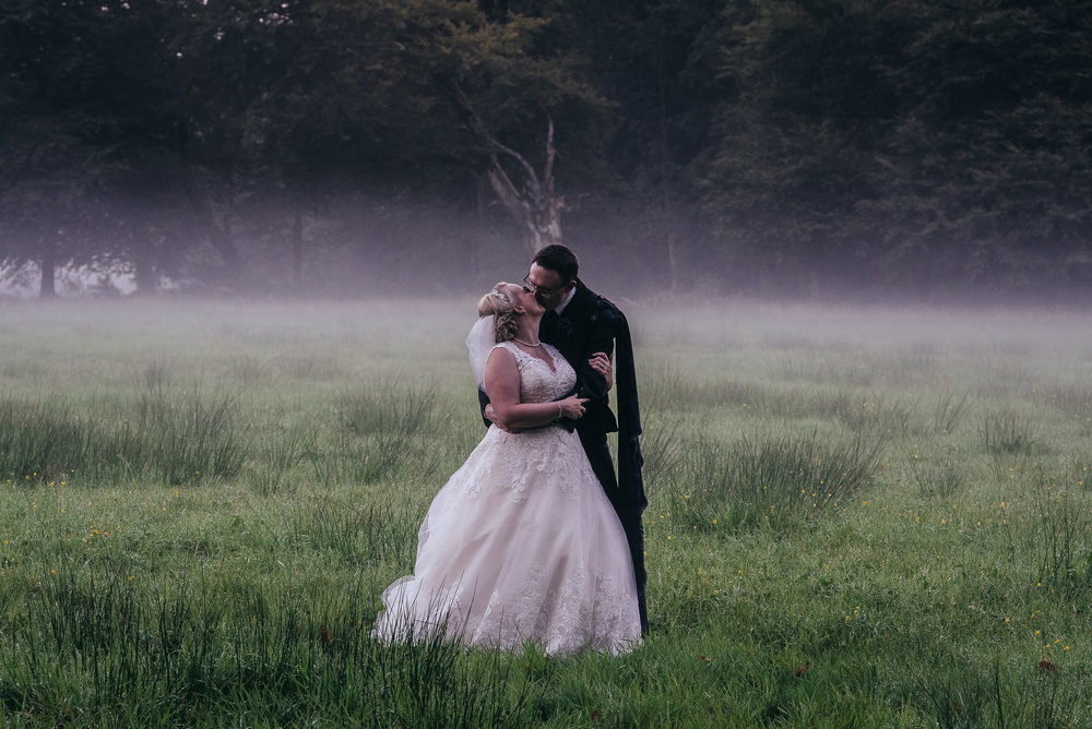 Rowallan Castle misty wedding portrait