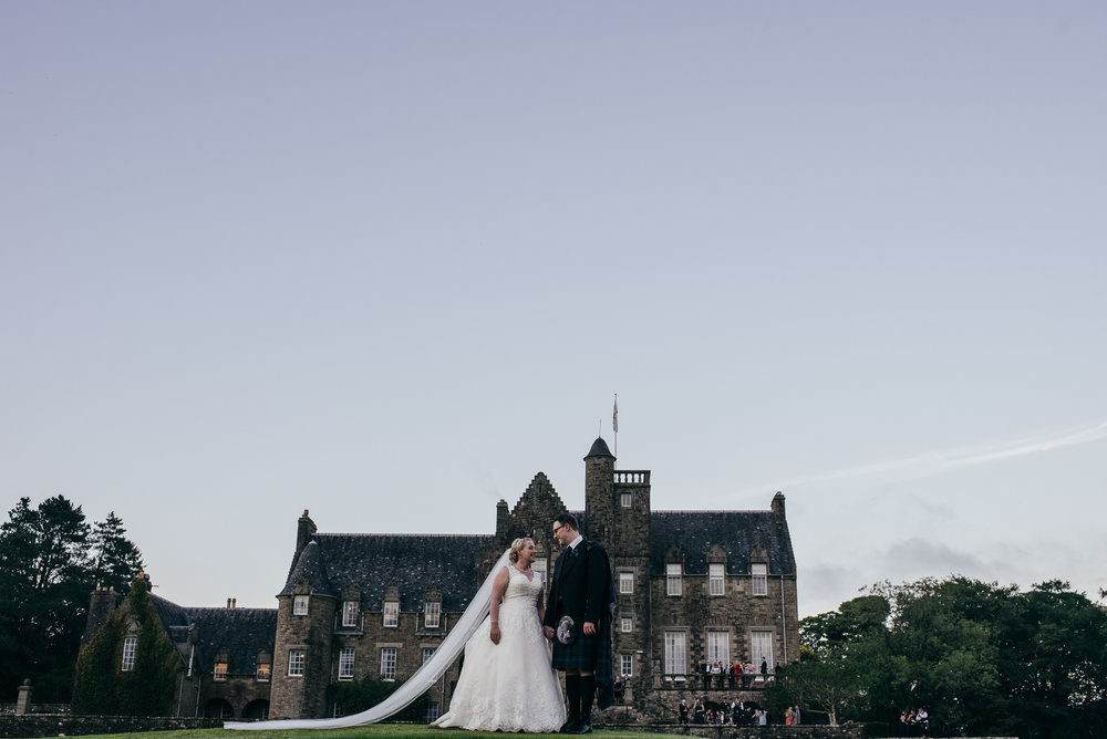 Rowallan castle wedding portrait