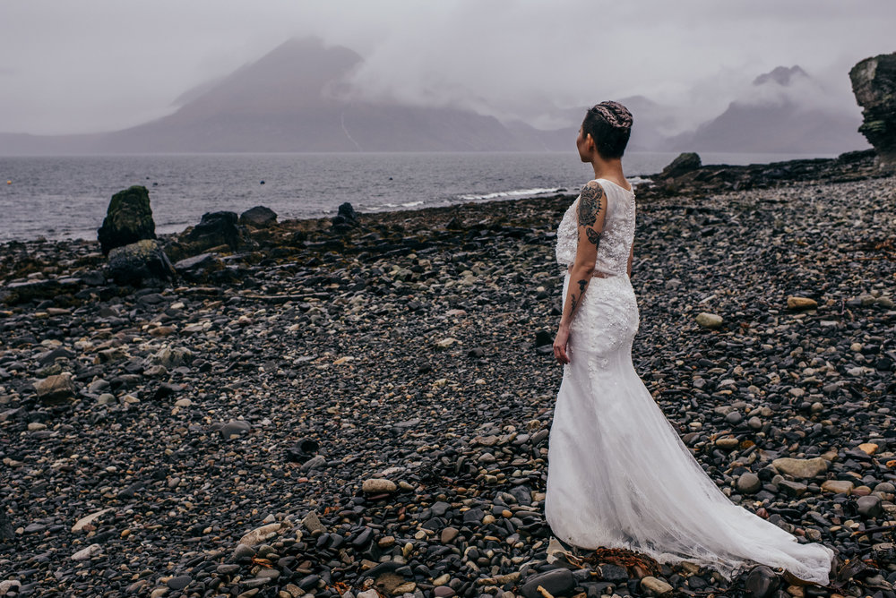 Dramatic bride portrait Isle of Skye