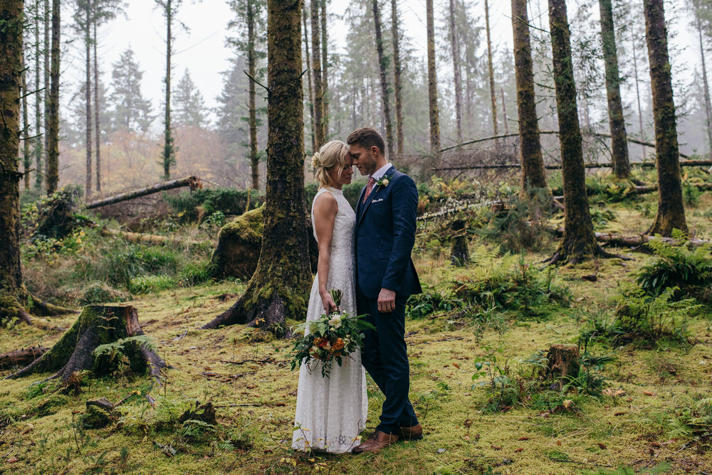 Woodland elopement portrait