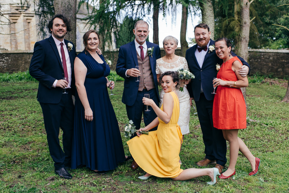 Quirky bridal party portraits