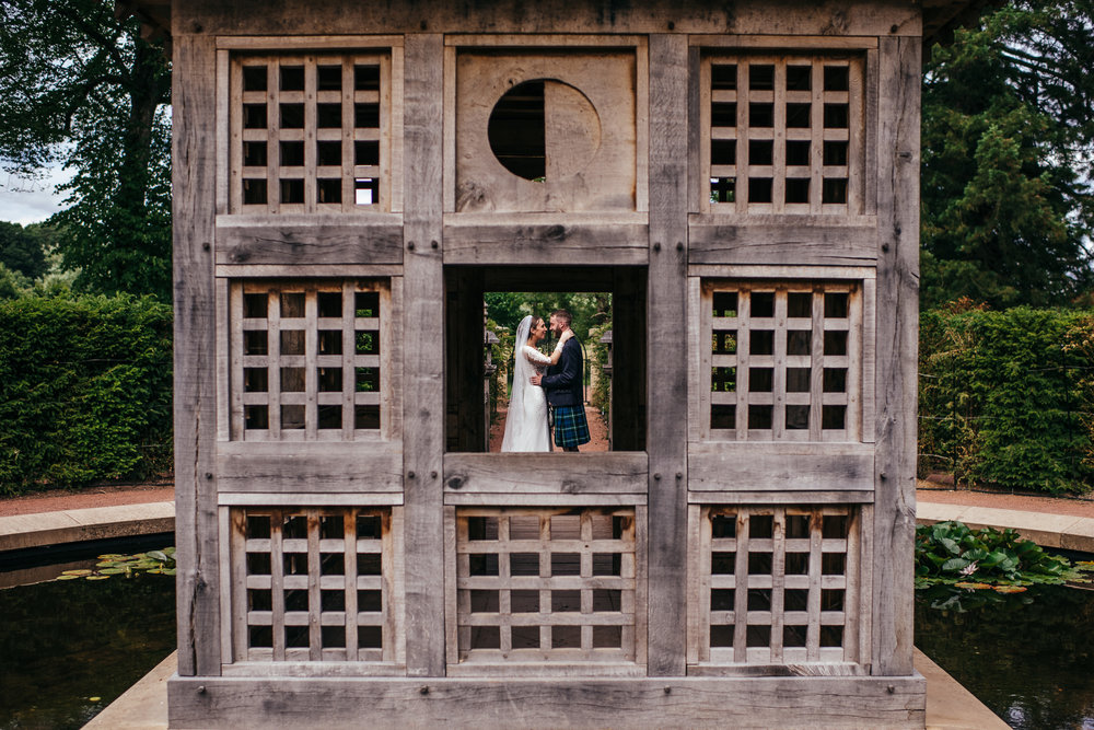 Creative wedding portrait using squares