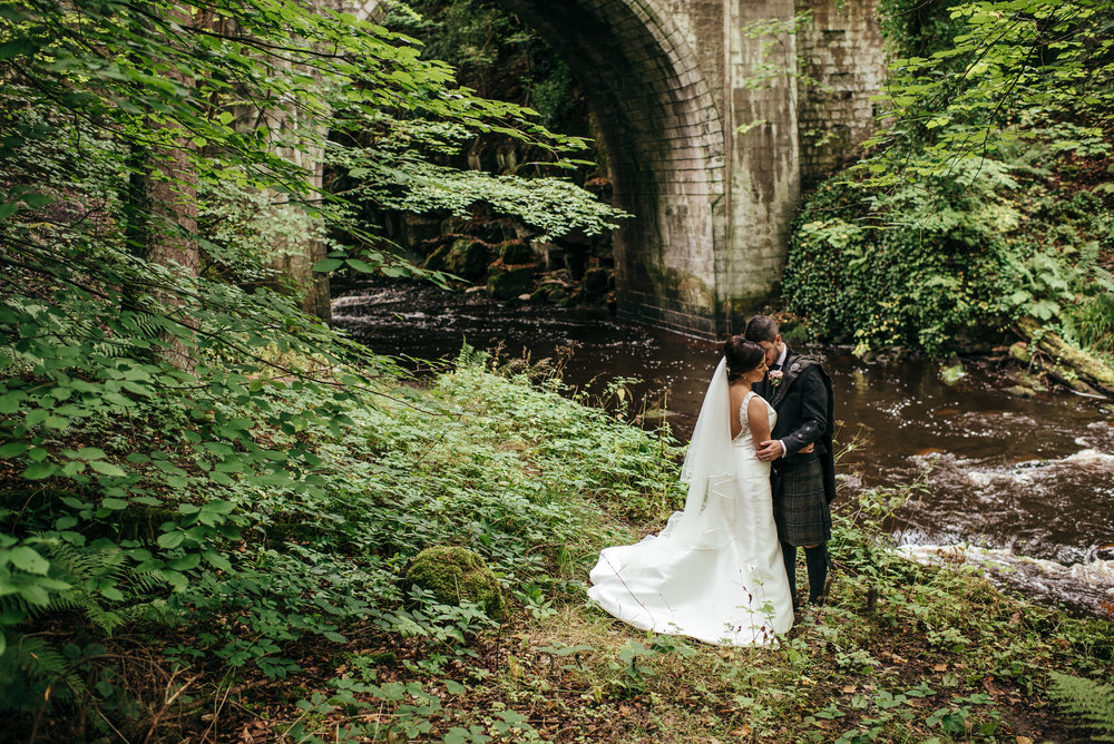 Wedding portrait at Crossbasket bridge