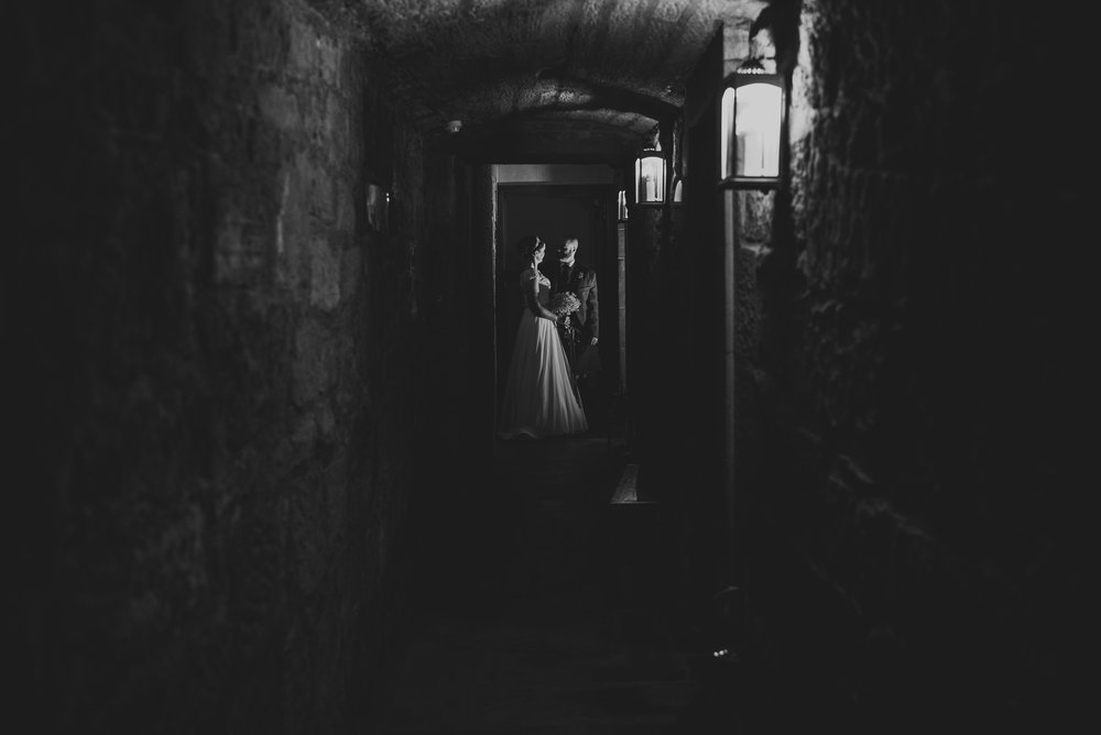 Creative use of light wedding portrait