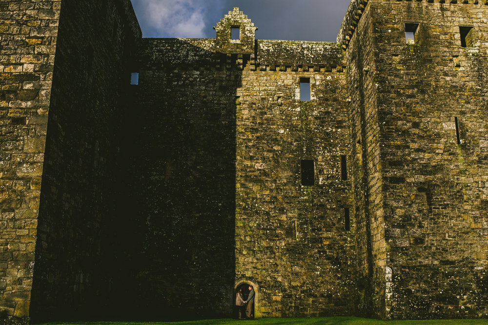 Dramatic light portraits at Scottish Castle