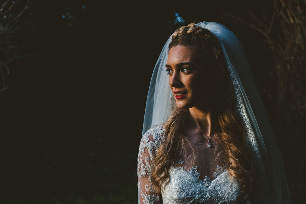 Beautiful winter light bridal portrait