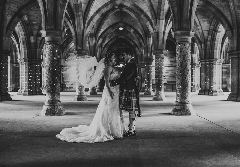 Wedding portrait at The Cloisters Glasgow Uni