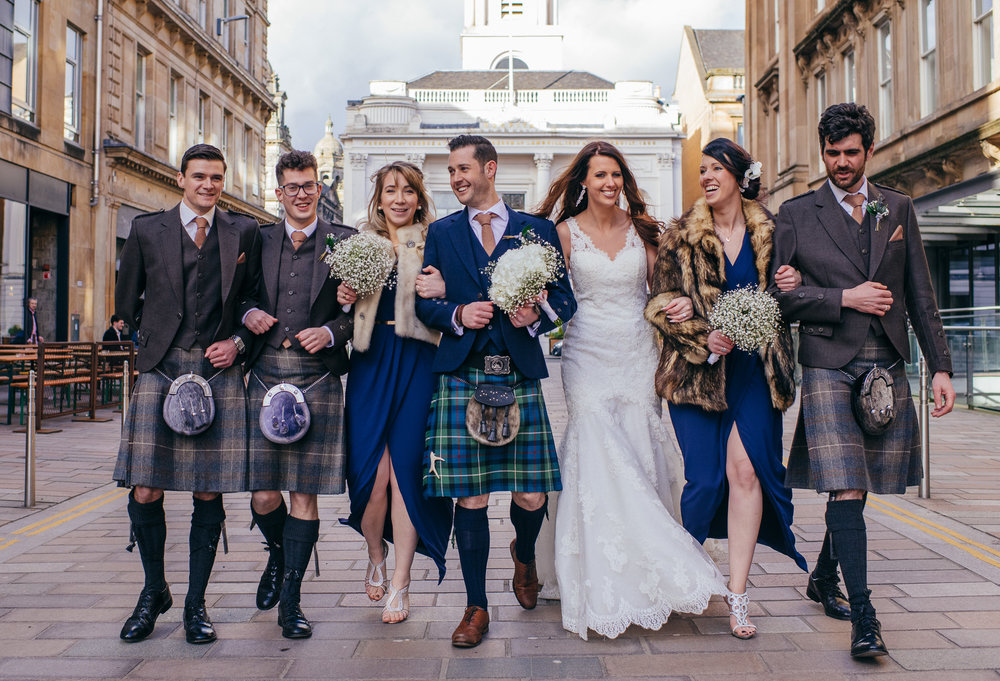 Bridal party Glasgow city centre
