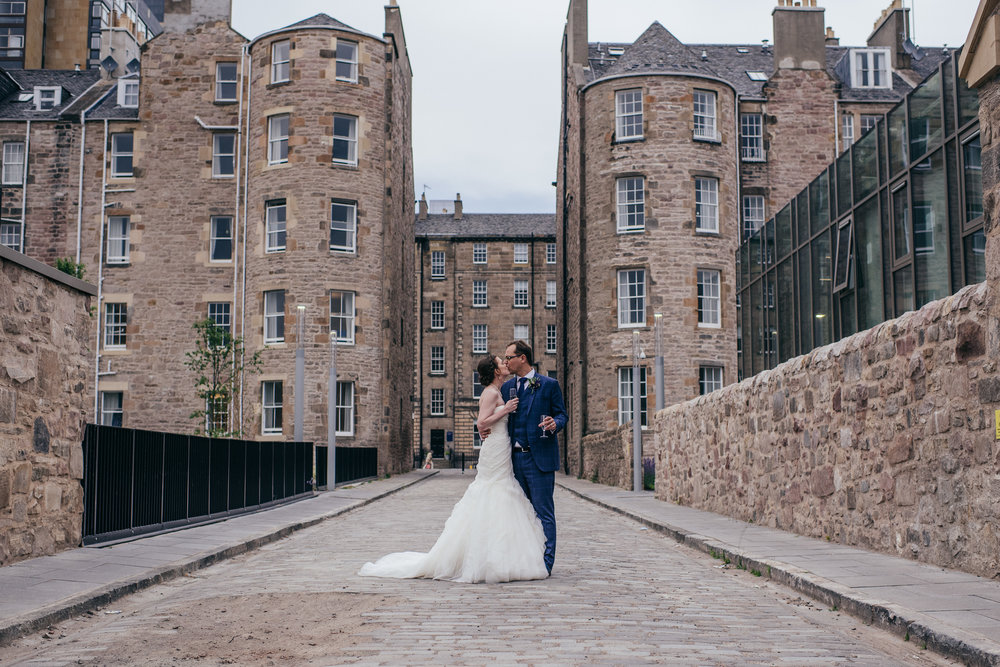 Edinburgh city centre wedding portrait