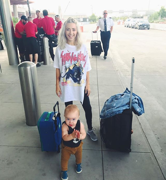 We said bye and see you in a few to our favorite person @chuko_vet 👋🏽 I've got my toddler (can't believe I'm saying that) and his mini suitcase + lots of snacks and toys for our first trip as just #dashandlo 👱🏽♀️👶🏼 headed to Grandmas house 🏡 love this miniature human of mine 😍😍 praying these flights are smooth with the crazy boy 🙏🏼 #travel#happythursday#momandbaby
