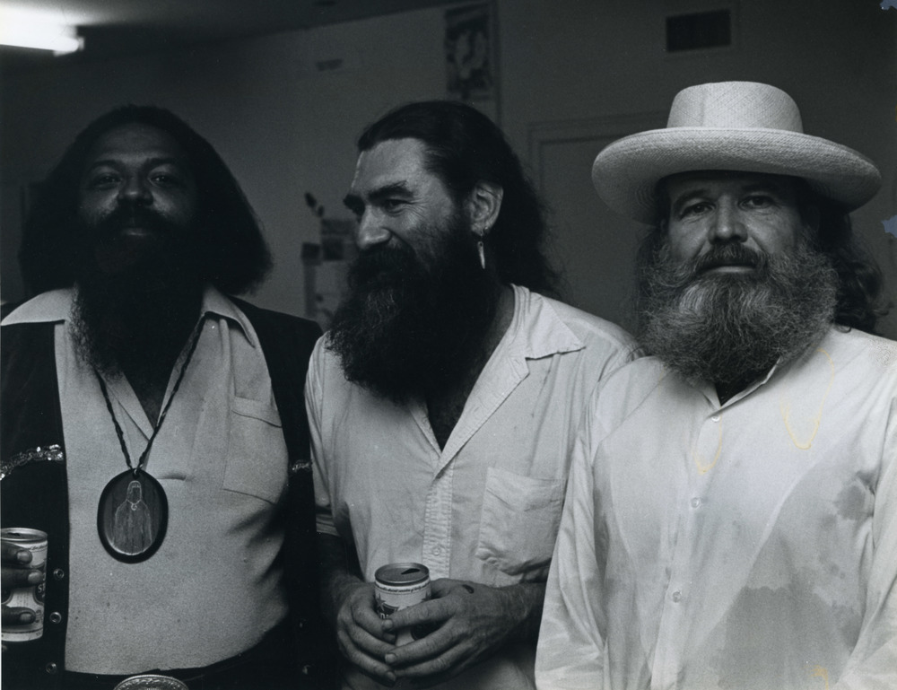 Bert L. Long, Jr., James Surls, and Bob Camblin, summer 1980. Photo by Frank Martin, courtesy Lawndale Arts Center Archives