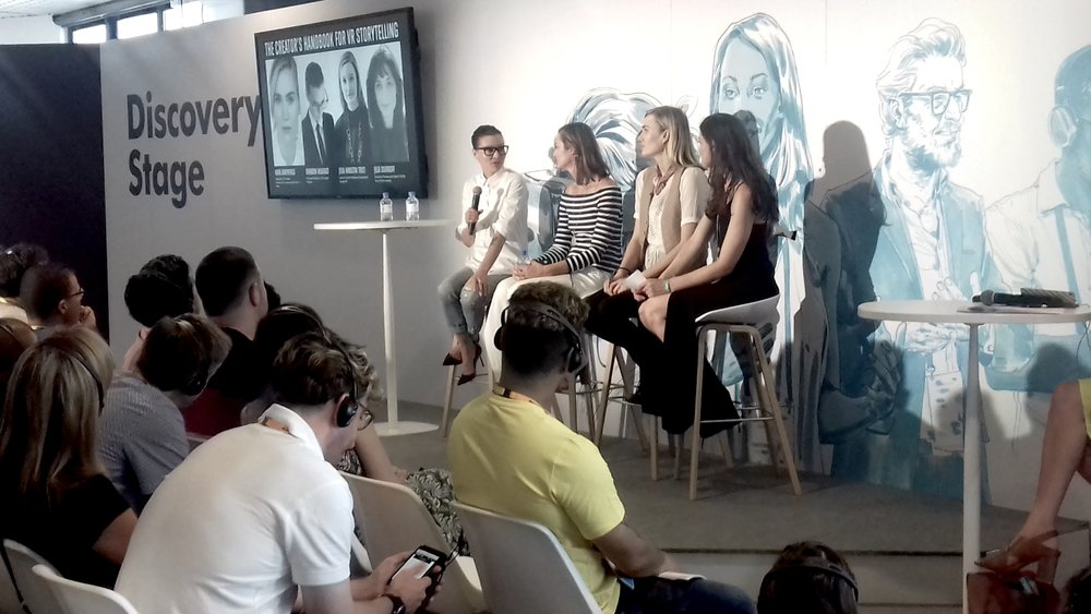 Cannes Lions sharing the stage with Julia Hamilton Trost (Google), Nora Kirkpatrick (Hulu) and Julia Sourikoff (Tool) discussing Virtual Reality