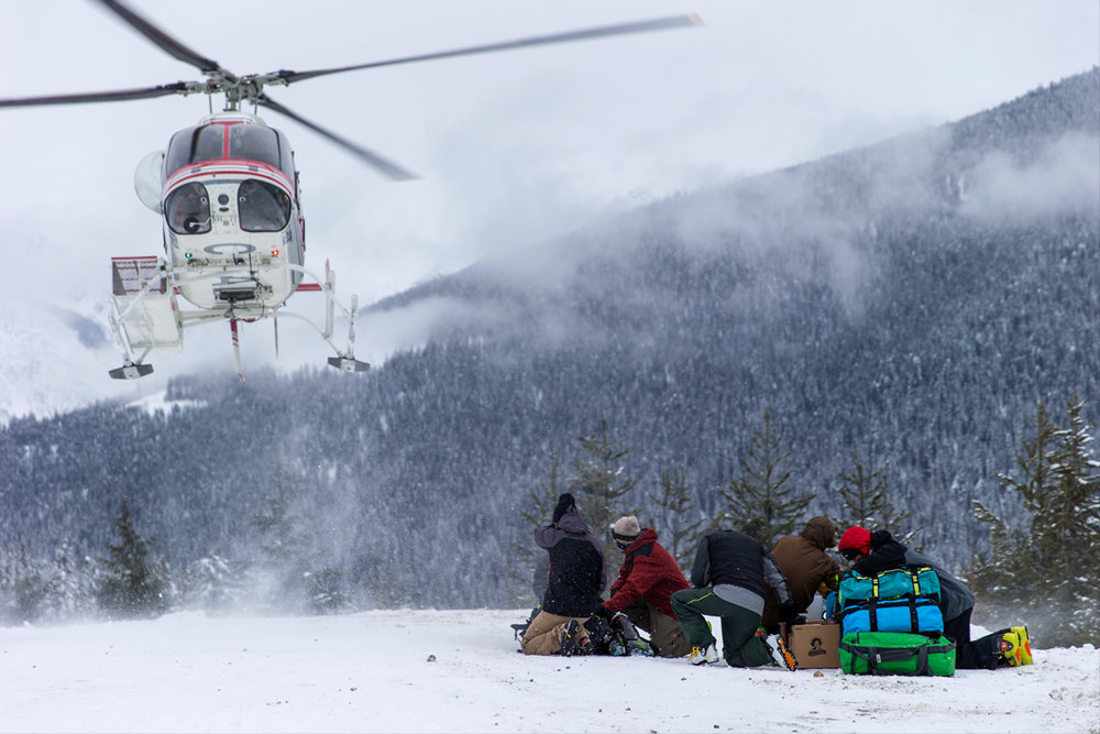 Preparing to get blasted by rotor wash. This flying chunk of metal was our only way in, or out, from the lodge.