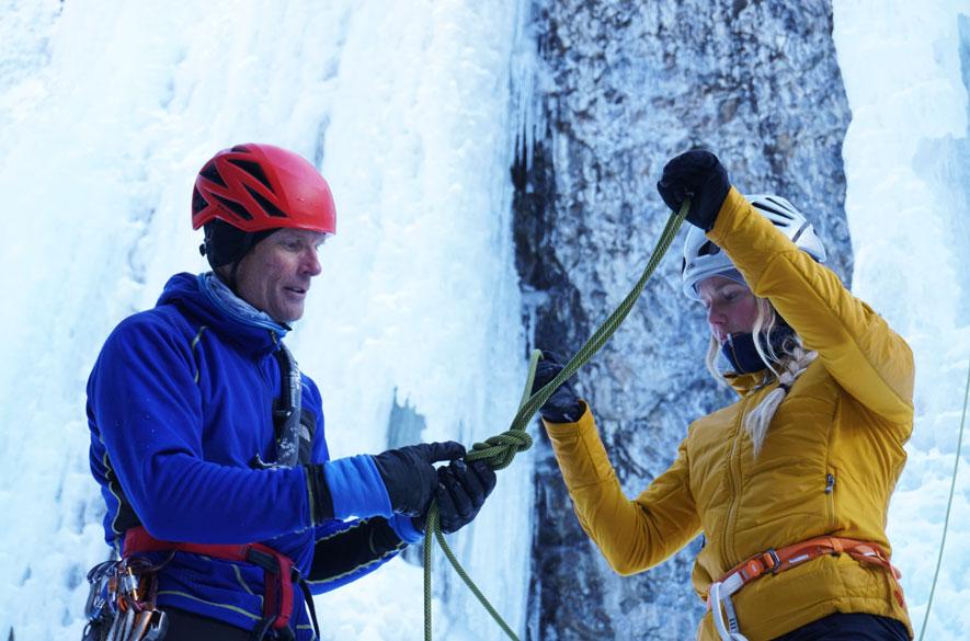 Conrad showing Kalen the ropes.