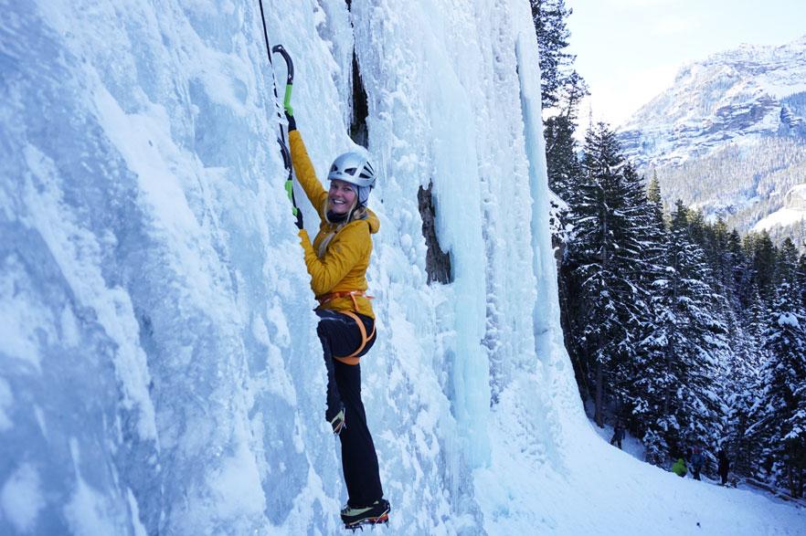 Skier Kalen Thorien, smiling all the way.